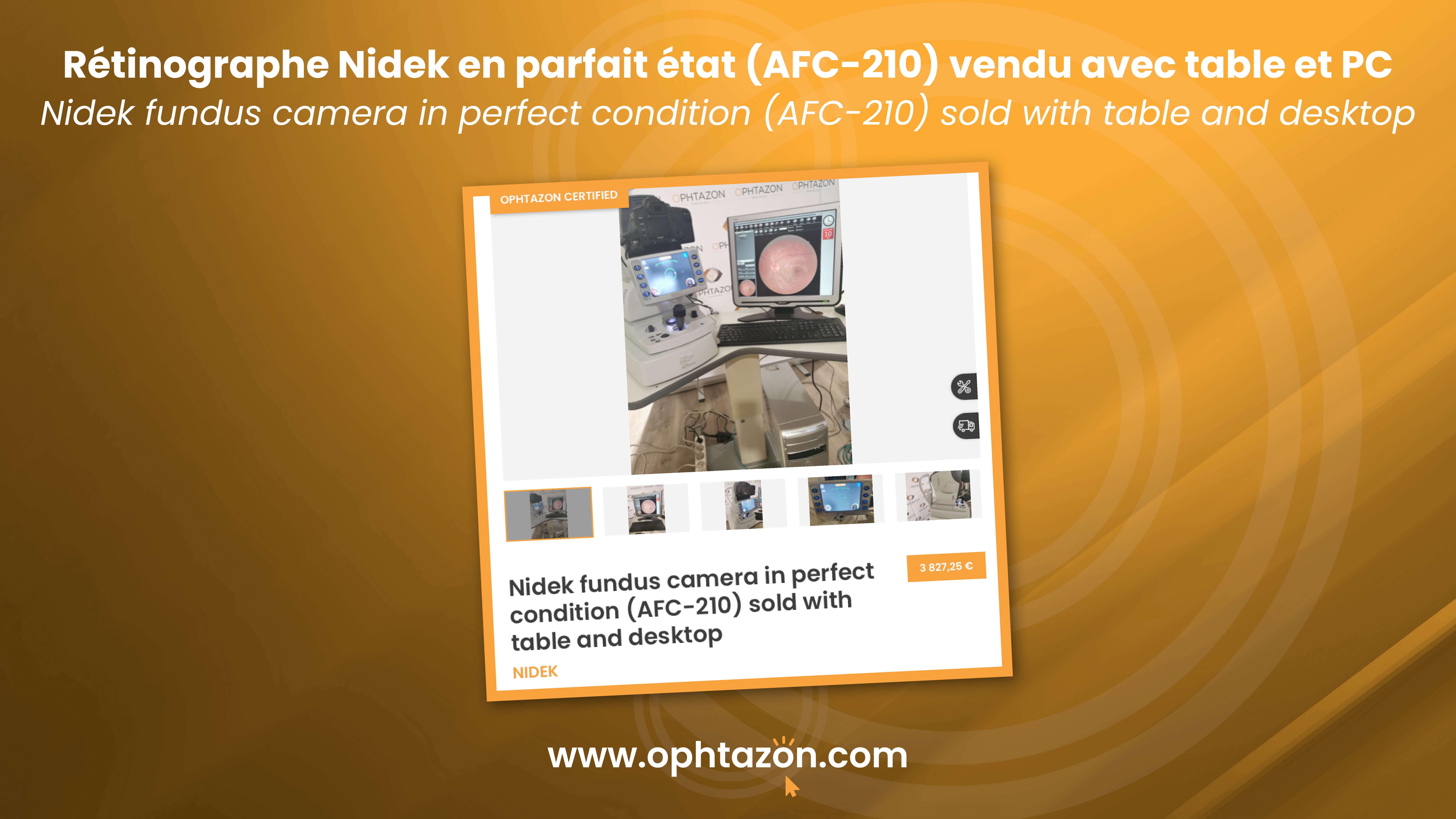 Le rétinographe Nidek en parfait état (AFC-210) vendu avec table et PC est disponible.