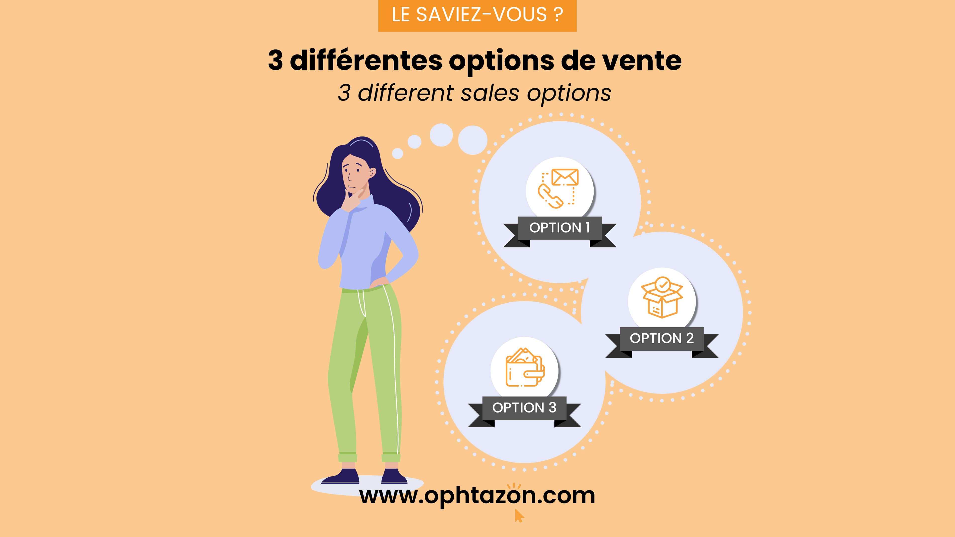 3 différentes options de vente